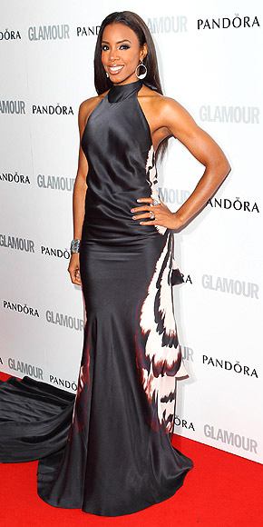 Stunning In A Silk Black Maria Grachvogel Halter Gown~ The Sassy In Silk Look: Kelly Rowland Graced The Red Carpet In This Fab Gown At The Glamour Awards In London.