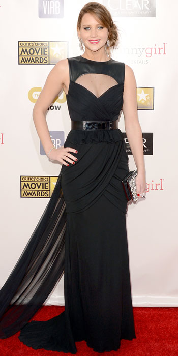 011113-Jennifer-Lawrence-350Lawrence vamped it up on the Critics' Choice Movie Awards carpet in a matte jersey Prabal Gurung gown that she styled with