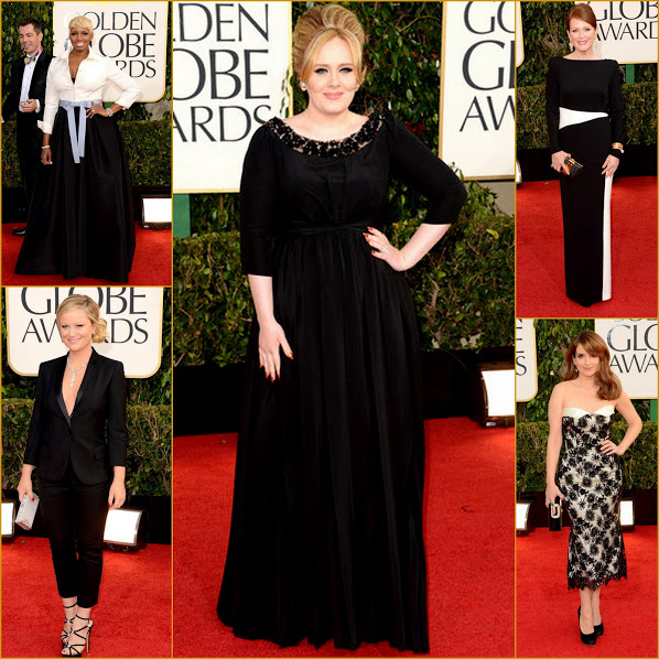 2013 70th Golden Globes Black & White Tie Affair Chic+ Adele+ Amy Poehler+ NeNe Leakes+ Tina Fey Fashion Red Carpet
