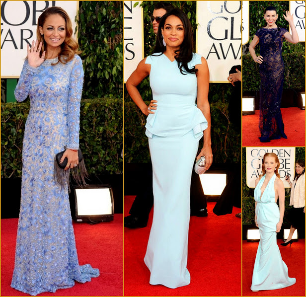 2013 70th Golden Globes Blue Meets Mint With Nicole Richie & Rosario & Jessica C.
