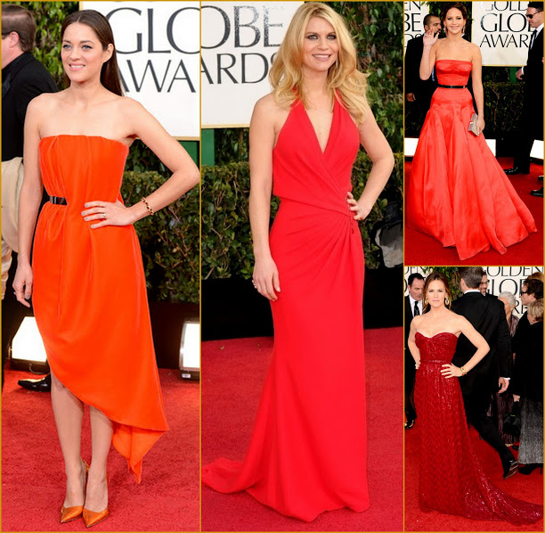 2013 70th Golden Globes Candy colors Reds & Oranges+Marion Collard+Claire Danes+ Jennifer Lawerence fashion red carpet