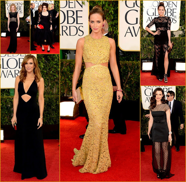 2013 70th Golden Globes Expose The Matiral Emily Blunt, Louise Roe+Rachel Weiz, Kristen Wiig Fashion red carpet