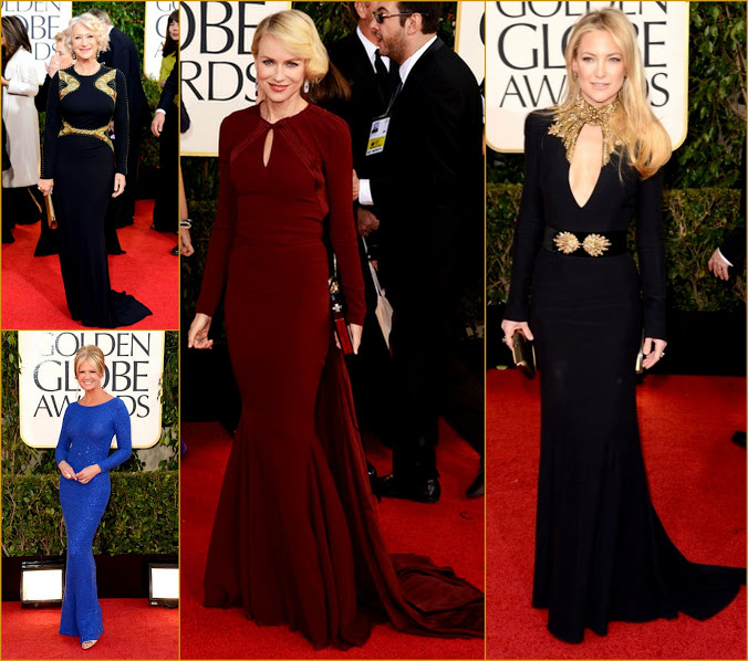 2013 70th Golden Globes Long Sleeve Trificta Naomi Watts+Kate Hudson+Helen Mirren+Nancy fashion Red carpet
