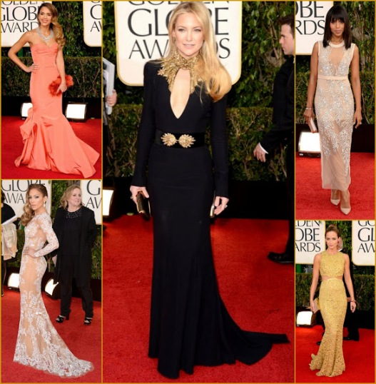 2013 70th Golden Globes My five ooks that rocked globes, Kate Hudson Mcqueen+Jennifer L Murad+Kerry Miumiu+Jessica Oscar Del Renta+Emily Blunt MKors