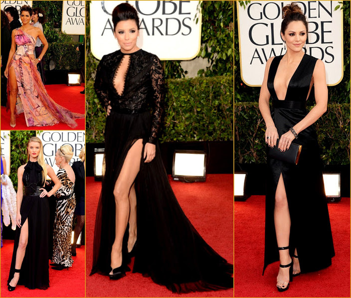 2013 70th Golden Globes Slitted Spilts Gowns Halle Berry+Eva Longria+Rosie Hunt+Kathrine McPhee fashion red carpet