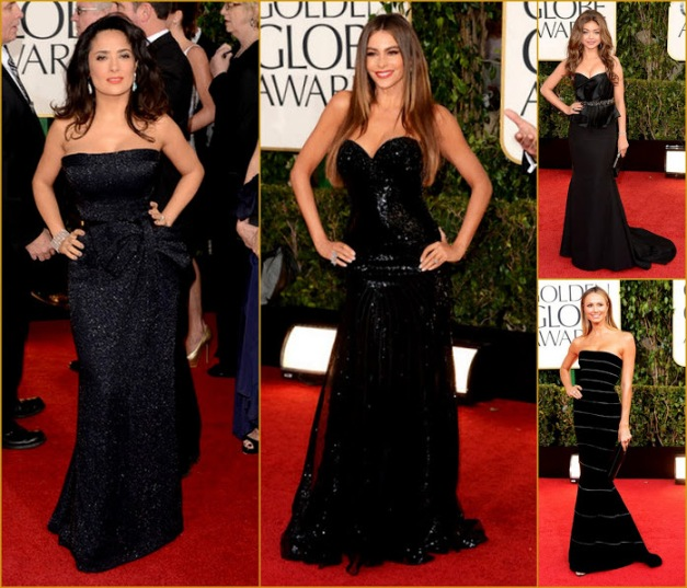 2013 70th Golden Globes Strapless Black Gowns, Salma H, Sofia, Stacy Red Carpet