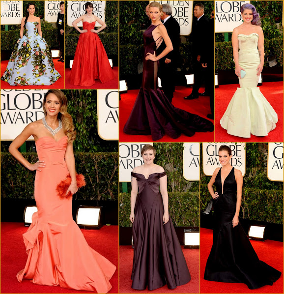 2013 70th Golden Globes Structred Gowns & Heavy Fabric Jessica, Kelly O, Lena, Lucy Liu,