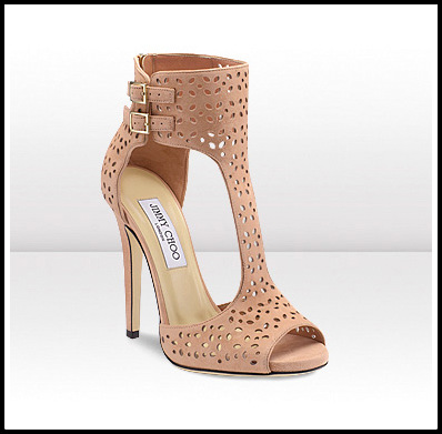 Blush Perforated Suede Sandal Booties