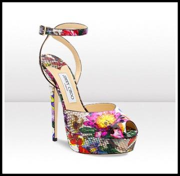 Floral Printed Python Platform Peep Toe Sandal