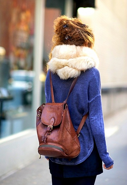 fur street style brown backpack