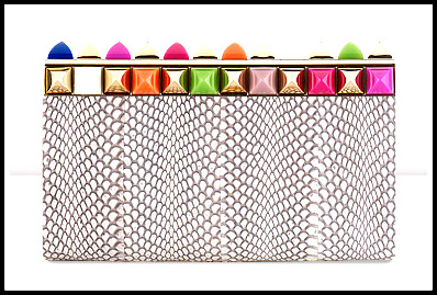 Glossy Elaphe Clutch Bag with Multi Coloured Stones