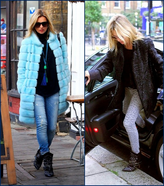 Kate Moss 2012 street style in Isabel Marant western chic boots