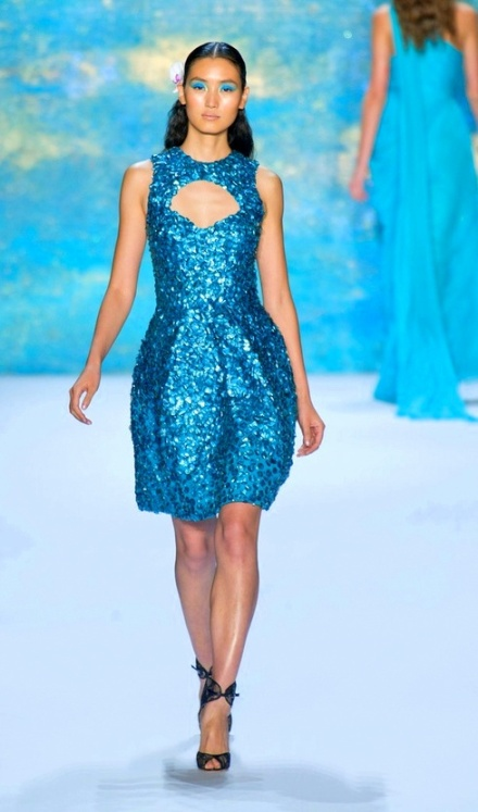 S/S +Monique Lhuillier +Style Spring+2013+ Aqua Dress+ Fashion Week