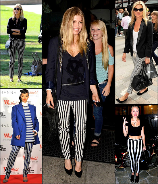 Celebs in Striped pants and jeans miley cyrus, Rihanna, Fergi and Heidi klum
