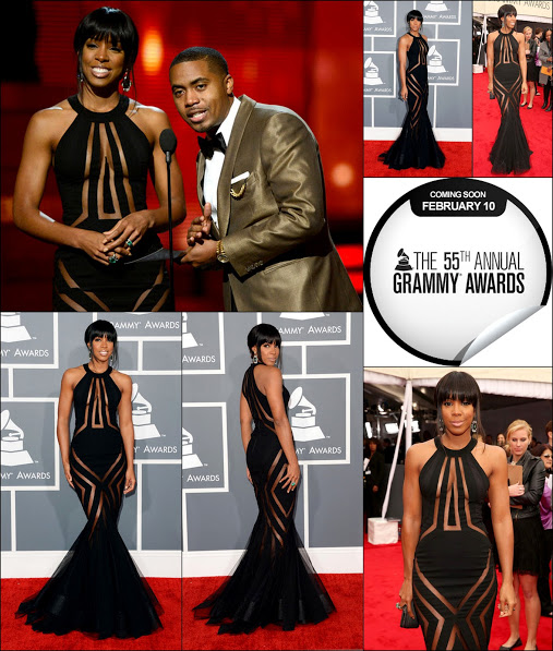 Kelly rowland 2013 grammy awards george charkas in black