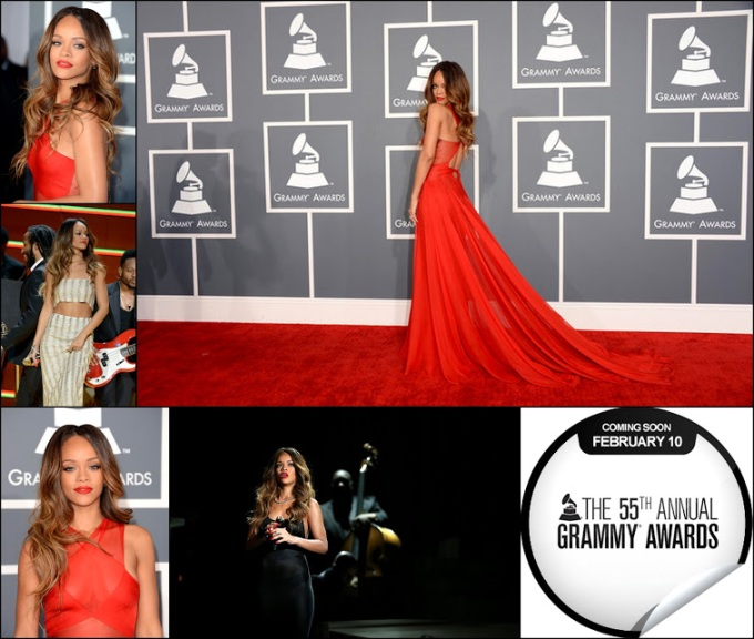 Rihanna in red gown 2013 Grammy awards