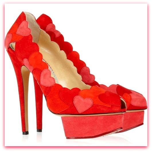 Valentine shoes -Charlotte Olympia hearts red pink suede patchwork heels