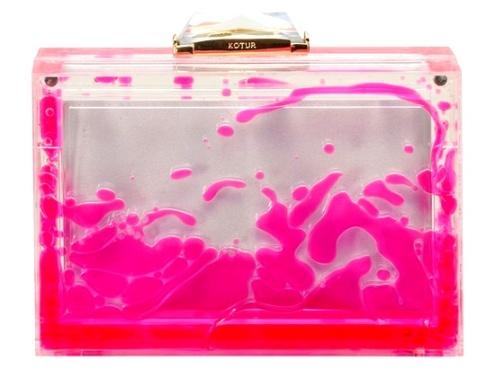 adb2919a2a2f09c03f15858ae1ce3829Kotur Pink lava lucite clutch