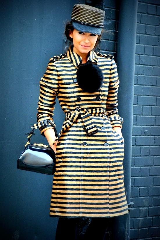 NYFW. Miroslava in stripes. Street style