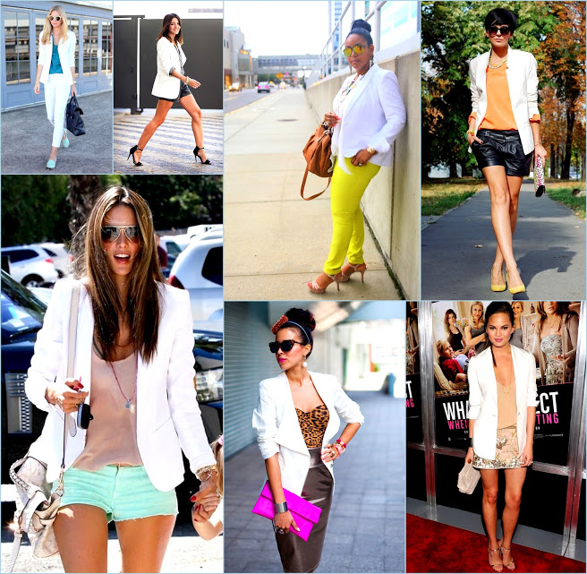 Colorful shorts and bright color looks with white blazers