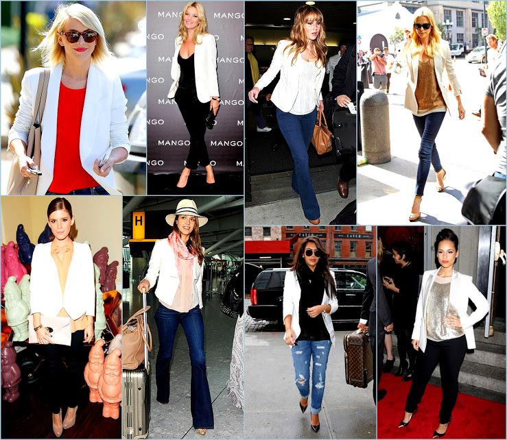 Celebs Jessica Alba+Kate Mara In Classic Blazers + Jennifer Lawerence+ Charlize + Alicia Keys In White Blazers