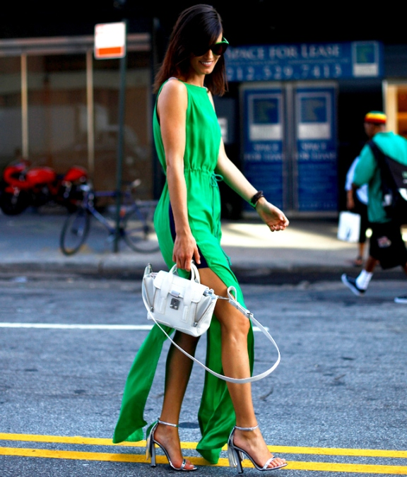 green dress and +white#AlexanderWang #PhillipLim