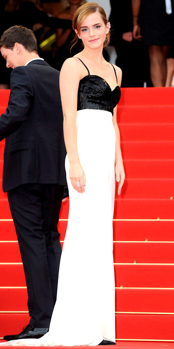 051713-emma-watson-350Watson attended the Cannes premiere of The Bling Ring in a black and white Chanel Couture column and edgy Repossi ear cuff.