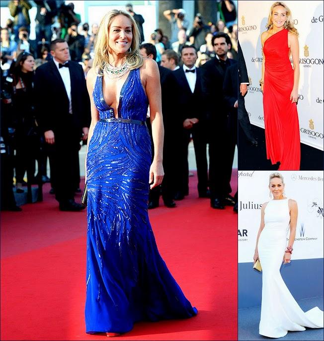 2 Cannes 66th Film Festival FashionSharon Stone, in blue  Roberto Cavalli, en la premiere de 'Behind the Candelabra' & White Roberto Cavalli