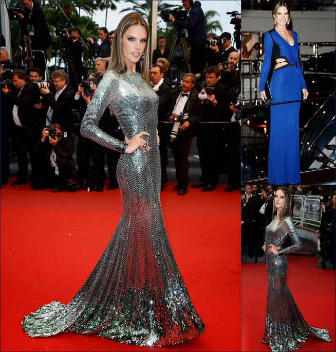 2 hbz Alessandra Ambrosio in Roberto Cavalli sequin gown at The Cannes Film Festival & Roberto Cavalli in blue