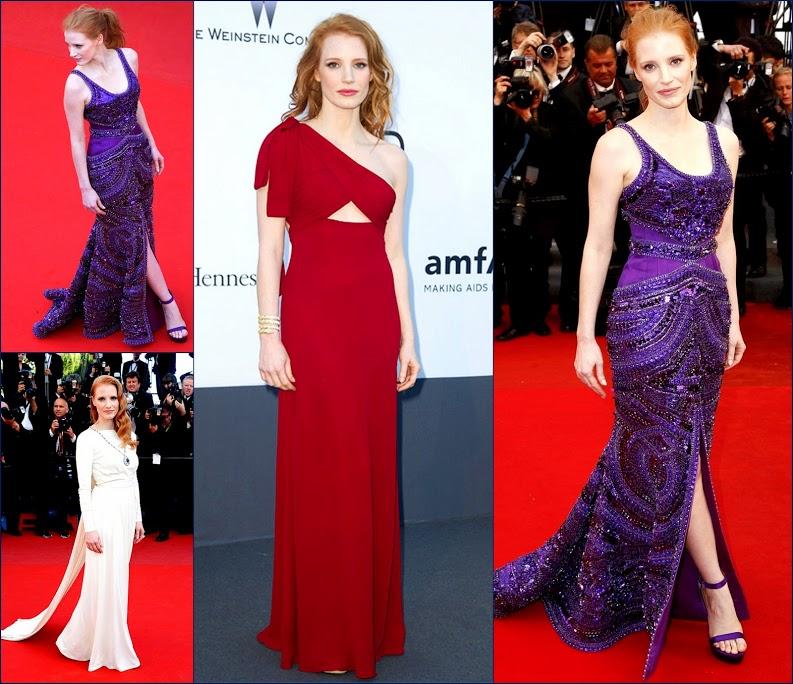 2 hbz -amfar-jessica-chastain-350Jessica Chastain in Saint Laurent & in Versace Cleopatra' in Cannes & Jessica Chastain, in custom Givenchy Haute Couture.
