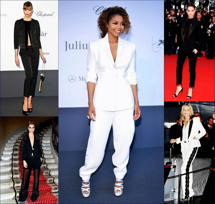 2 hbz custom boyish chic suits at +Cannes+66th+FilmFestival+Amfar+gala+Barbara Palvin, in Alexandre Vauthier, Karlie Kloss in Louis Vuitton.Sharon Stone in Roberto Cavalli. Janet Jackson& Cara D.