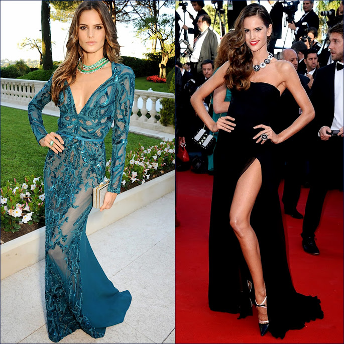 2 hbz Izabel Goulart Wearing Elie Saab amfAR's 20th Annual Cinema Against AIDS & Izabel Goulart Wearing Black Emilio Pucci dress