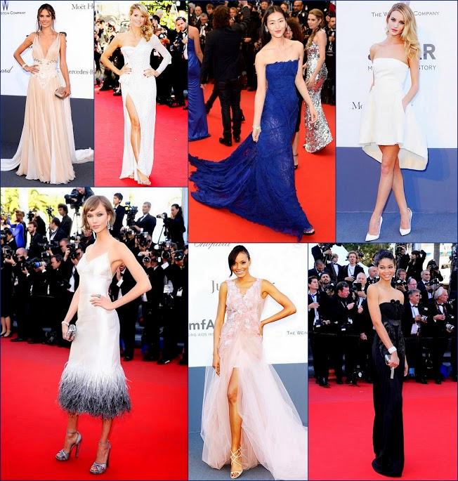 2 hbz models at Cannes film festival 66th 2013 Chanel Iman, Karlie Kloss, Alessandra Ambrosio in Zuhair Murad, Selita Ebanks Montblanc. Rosie Huntington-Whiteley in Dior,Heidi Klum in Versace,Liu Wen, in Roberto Cavalli,