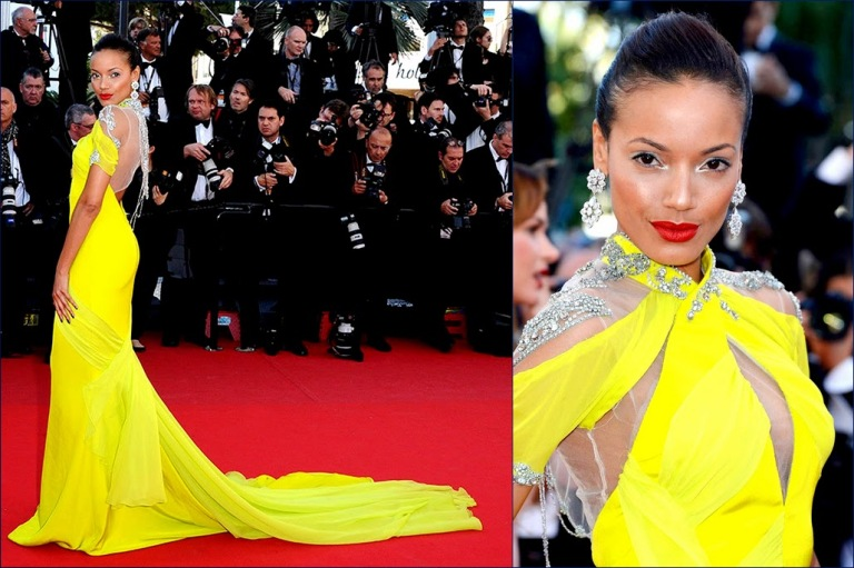 2 hbz Selita Ebanks At Cannes Film Festival In A Custom Yellow Cadena Gabriela gown Couture +Cannes Red Carpet
