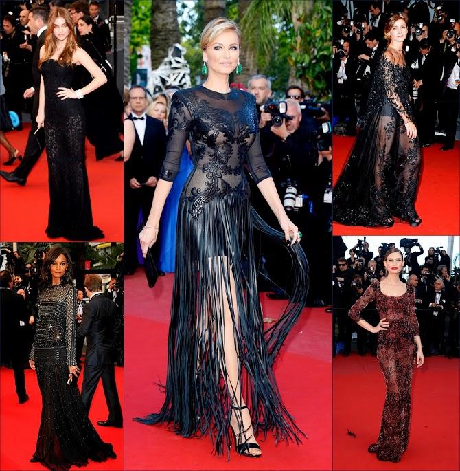 2 hbz sheer sparkly see through gowns at +Cannes+ 66th+ Film Festival+ Adriana-Karembeu-Jitrois-Premiere, Clotilde Courau, Bianca Balti Wearing Dolce & Gabbana,Liya Kebede, in Roberto Cavalli, Barbara Palvin