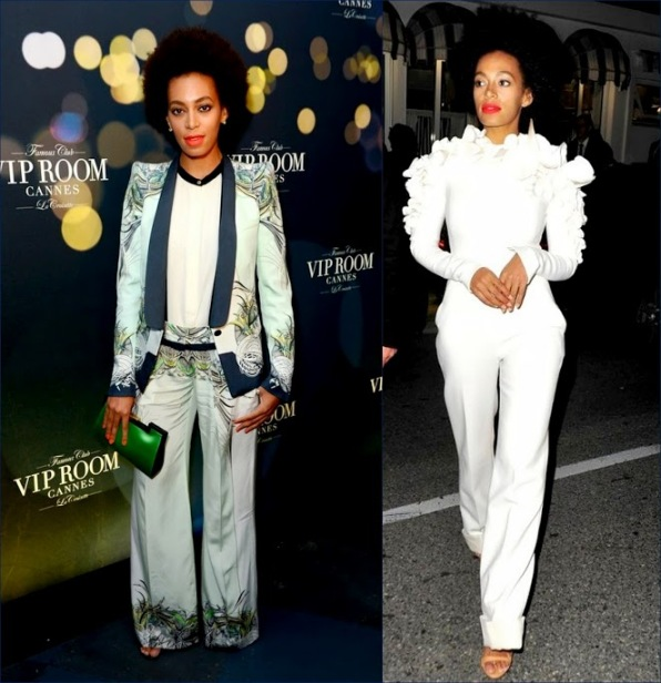 2 hbz Solange Knowles Wearing Roberto Cavalli - The BELVEDERE Party In Cannes Vanity-Fair-Chanel-Dinner-Party-Stephane-Rolland-Couture-Spring-2013-white-Jumpsuit