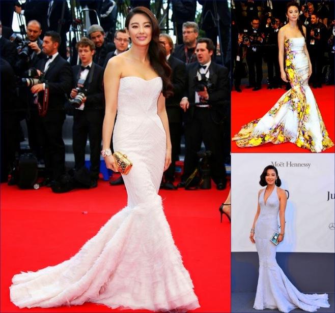2 hbz Zhan-Yuqi-in-Roberto-Cavalli@premiere-Inside-Llewyn-Davis-in-Cannes, Monique Lhuillier.Roberto-Cavalli-amfAR-Gala