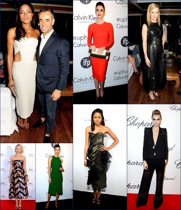 2 Stars at Calvin Klein & Chopard party at 2013 +Cannes+ Film +Festival Naomi Harris, Naomi Watts, Nicole K. Paz Vega, Cara D. & Hanneli M.
