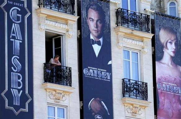 Posters for the film 'The Great Gatsby' showing actor Leonardo DiCaprio and actress Carey Mulligan are displayed outside the Carlton Hotel before the start of the 66th Cannes Film Festival in Cannes