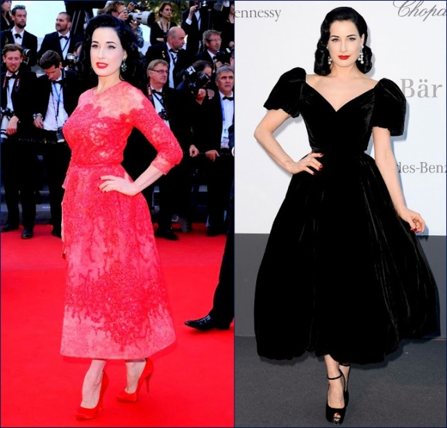 2hbz 66th Annual Cannes Film Festival -Behind the Candelabra Elie Saab Dita Von Teese, in Elie Saab Haute Couture & a black in Ulyana Sergeenko dress