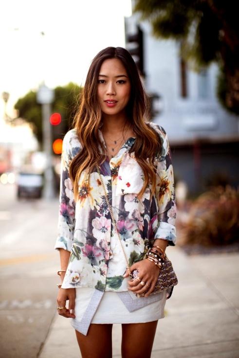 Haute Hippie Floral shirt (Piperlime) - Finderskeepers skirt - Loeffier Randall purse - Vita Fede bracelets