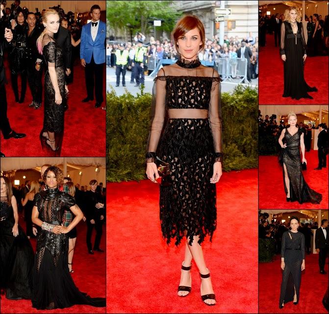 MET GALA 201362 Sheer see through black dresses gowns