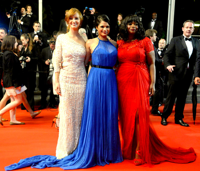 slide12Ahna O'Reilly, in Elie Saab, Melonie Diaz, in Emilio Pucci, and Octavia Spencer, in custom Tadashi Shoji