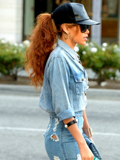 Rihanna wearing all denim