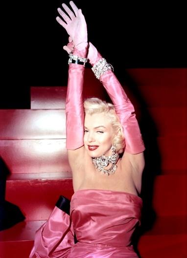 Marilyn Monroe diamonds are girl's best friend pink dress