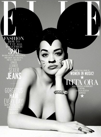 Rita Ora on the cover of ELLE wearing gigantic ears