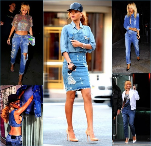 Collages RiRi Rihanna denim looks