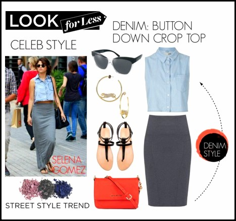ImageProxyDenim BUTTON DOWN CROP TOP Selena Gomez