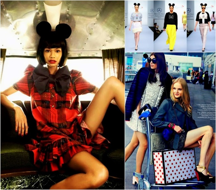 Mickey Mouse Fashion, Chanel Iman in mickey mouse style, Elle Poland,  Pink Magnolia en la México Fashion Week con Mickey Mouse