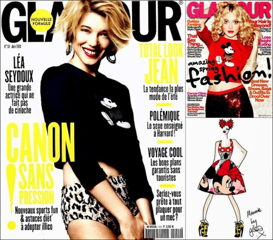 Mickey Mouse Fashion Léa Seydoux for Glamour France June 2013, March fashion issue cover Dakota Fanning, Minnie Mouse na London Fashion Week, Giles Deaco